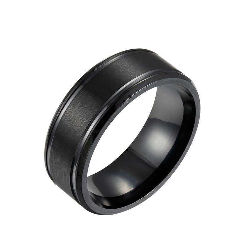 Moda 8 milímetros Matte Fibra de Carbono Leve de Aço Inoxidável Anel para Homens Mulheres Casal Anel Preto Cor Prata Jóias Masculinas