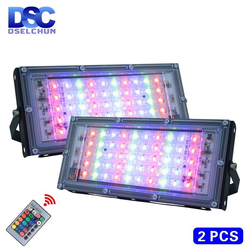 2 adet/grup 50W LED RGB sel ışık lamba AC 220V açık projektör IP65 su geçirmez reflektör Led spot uzaktan kumanda