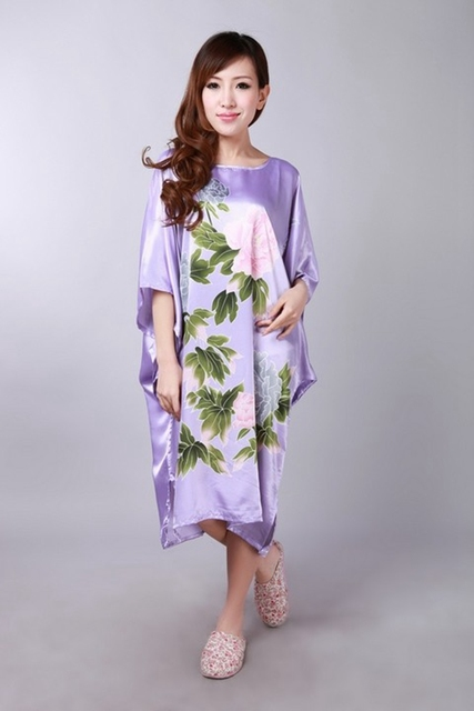 Plus Size Novelty Green Chinese Women Printing Silk Rayon Robe Loose Lounge Nightgown Kimono Bath Gown Sleepwear Mujer Pajama