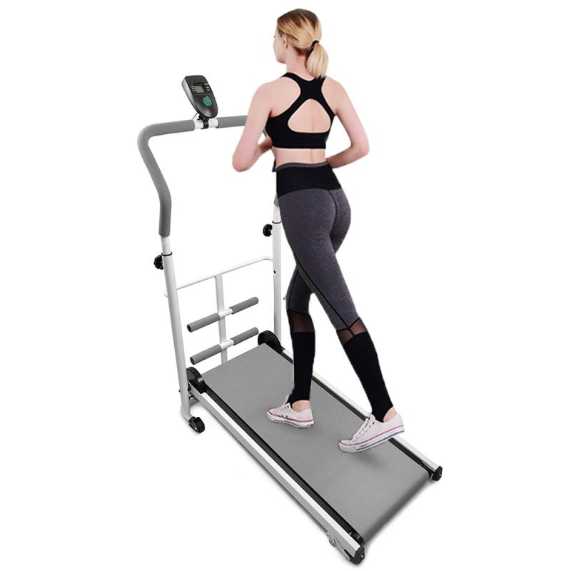 Home Indoor Mechanical Movement Treadmill With Sit-up Bar Fitness Machine With Display Time Speed Body Building Treadmill HWC