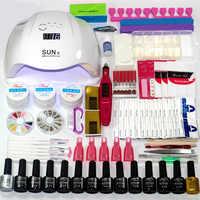Manicure Set Choose 12/10 Colors Gel Polish Base Top Coat Nail Kit 36w/48w/54w Uv Led Lamp Electric Manicure Handle Nail Art set