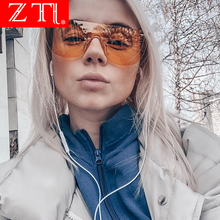 ZT Flat Top Candy Color Integrated Lens Women Goggle Sunglasses Men Rimless Yellow Tinted Glasses