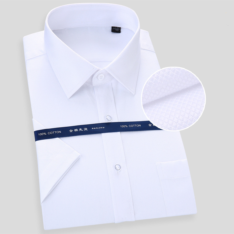 High Quality Non-iron Mens Short Sleeved Dress Shirt 100% Cotton White Blue Casual Male Social Regular Fit Plus Size 6XL 7XL 8XL
