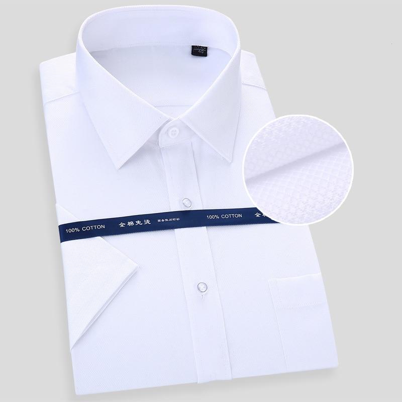 High Quality Non-iron Mens Short Sleeved Dress Shirt 100% Cotton White Blue Casual Male Social Regular Fit Plus Size 6XL 7XL 8XL