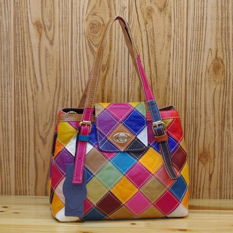 Quality Leather Women's Casual Patchwork Geometric Handbag Fashion Multi-Color Random Stitching Shoulder Messenger Tote Bag 489