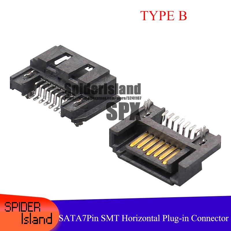 SATA 7Pin Male SMT Type B Horizontal Plug SATA 7P Connector Interface Socket 10pcs/50pcs/100pcs/500pcs/1000pcs SATA PCB DIY