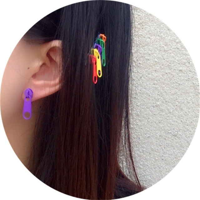 Korean Cute Alloy Fashion Zipper Stud Earrings for Women Ins Style Colorful Zipper Earrings 2019 for.jpg 640x640 - Korean Cute Alloy Fashion Zipper Stud Earrings for Women Ins Style Colorful Zipper Earrings 2019 for Summer Unique Funny Jewelry