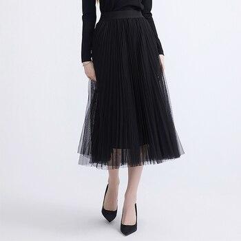 Women's Pleated Thin-Mesh Skirts