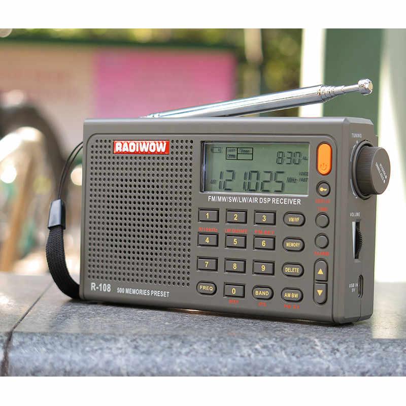 Radiwow R-108 Digitale Portatile Radio Fm Stereo/Lw/Sw/Mw/Aria/Dsp con Display Lcd/ di Alta Qualità Del Suono Funzione di Allarme per Interni Esterni