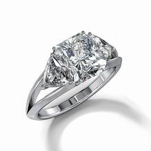 Huitan Shiny Blue&White Cubic Zircon Stone Prong Setting Classic Wedding Ring Band Geometric Style Women Jewelry Ring