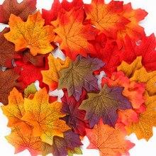 50 pçs folhas de bordo simulação artificial folhas de halloween outono folhas de natal decorações de mesa de casamento dia de ação de graças