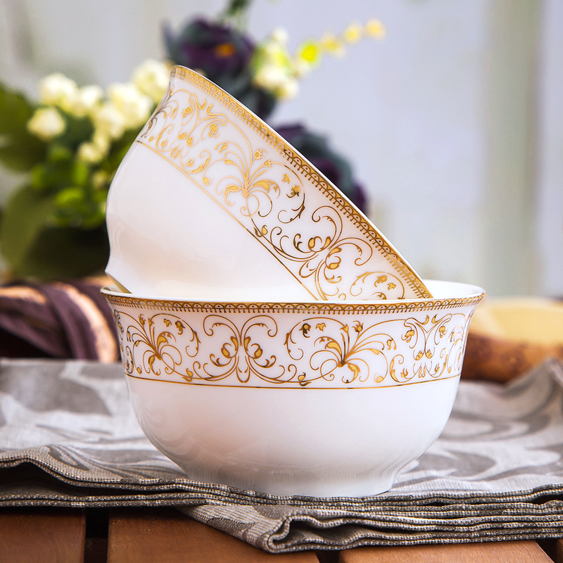 Bowl plate Jingdezhen ceramic bowl household rice bowl steak plate European dishes soup plate flat plate