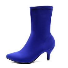 Yumuşak ince streç çorap çizmeler kadın moda gül mavi topuklu kadın yarım çizmeler sonbahar bahar sivri burun bayan ayakkabıları büyük boyutu