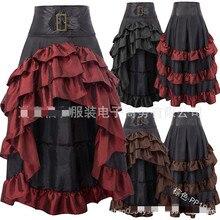 Victorian викторианская Асимметричная атласная с рюшами и кружевной отделкой юбки в готическом стиле Женская Корсетная юбка винтажная псевдостаринные юбки костюмы для косплея