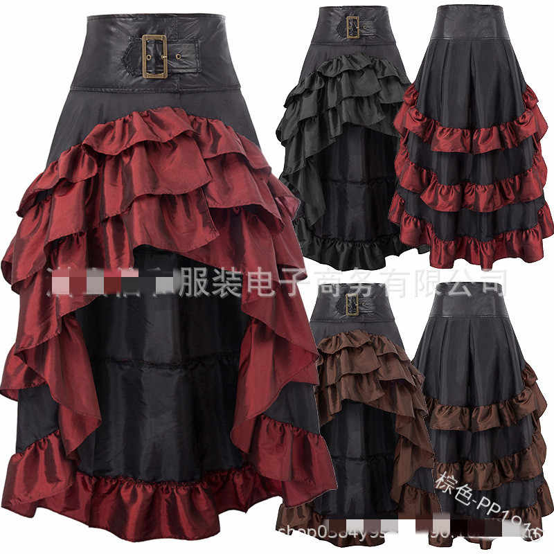 S-5XL Victorian Asymmetrical Ruffled Satin & Lace Trim Gothic Skirts Women Corset skirt Vintage Steampunk Skirt Cosplay Costumes