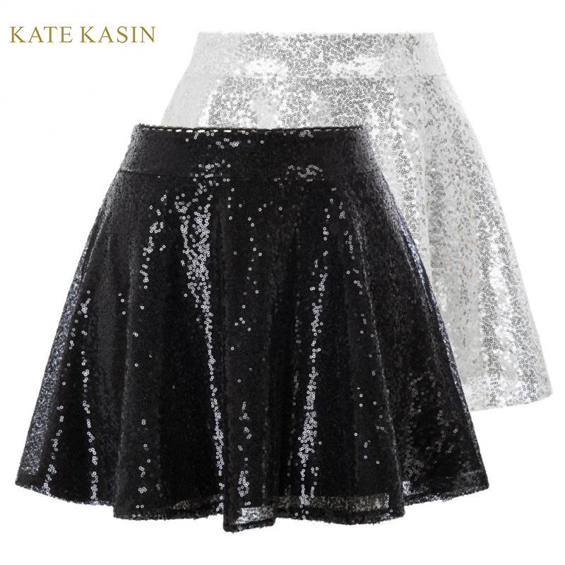 Kate Kasin Women's Sequin Glitter Mini Pleated Skater Skirt High Waist Flared A-Line Skirts Sparkling Sequins Club Party Skirt