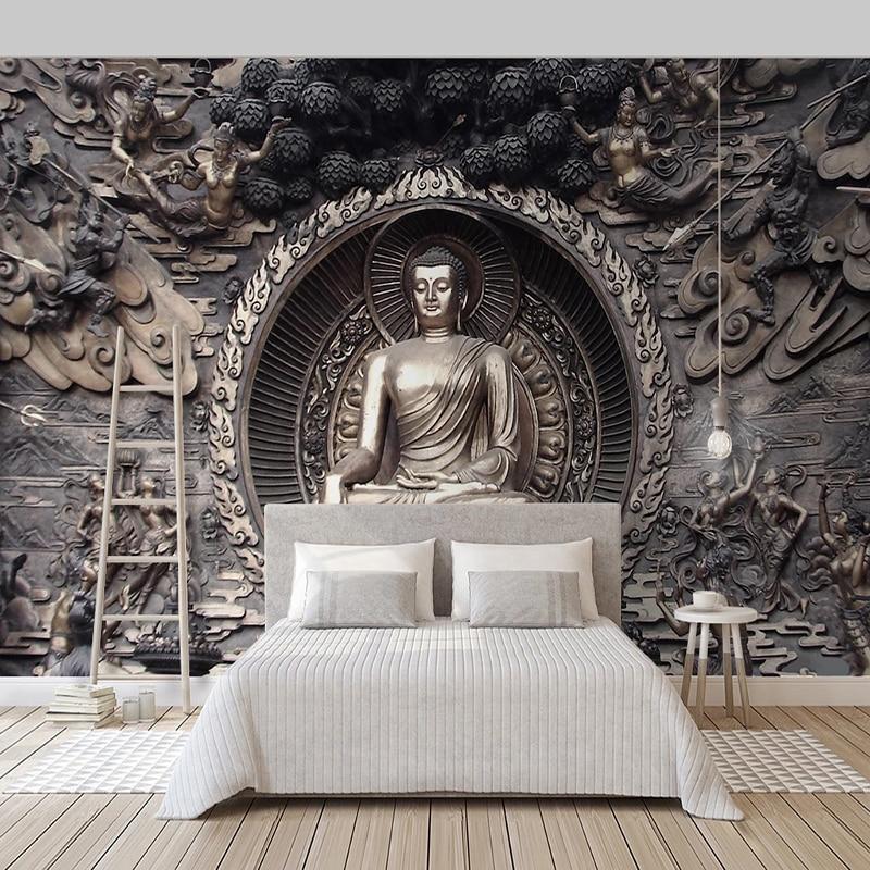 Custom 3D Stereoscopic Relief Buddha Statue Photo Background Decor Art Wallpaper For Living Room Decoration Papier Peint Mural