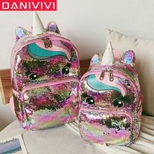 Cartoon ładny plecak dziewczyny dzieci szkolne torby cekiny plecak z motywem jednorożca duże Kawaii tornistry dzieci plecak Mochila Mujer