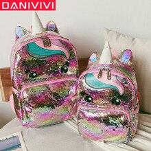 Mochila escolar para crianças, mochila grande de desenhos, unicórnio, lantejoulas, para meninas