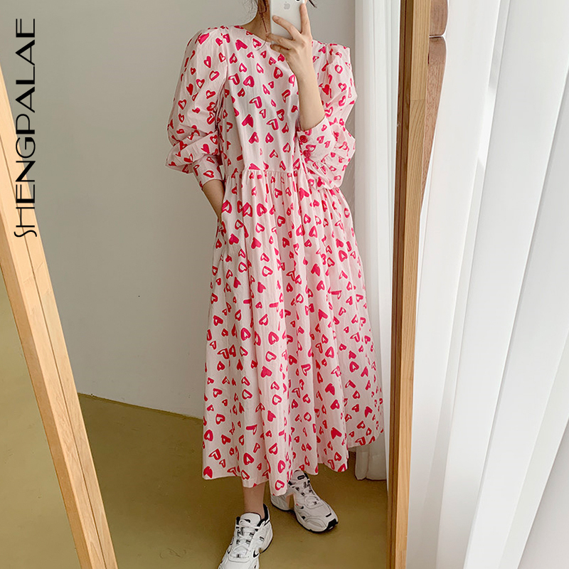 SHENGPALAE 2019 Round Collar Long Sleeve Red Cute Printing Autumn Winter Vestidos Korean Fashion Loose Women Dress Tide FV609