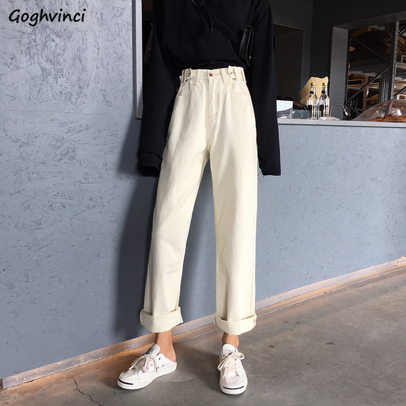 Jeans Women Straight Casual Loose Full Length Womens Korean Style New Trendy Females High Waist Harajuku Black Trousers Zipper