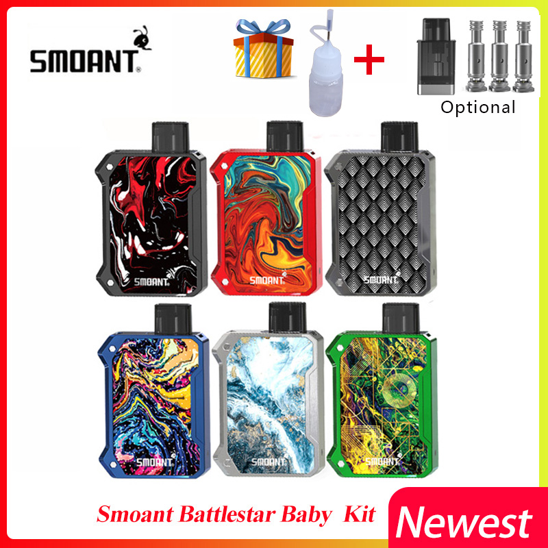 E Sigaret Smoant Battlestar Baby Kit 750mAh Pod Vape & 2ML Cartridge 1.2ohm Ni80/0.6ohm Mesh Coil pod Kits vs Pasito/orion dna