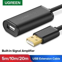 Cable de extensión USB Ugreen de 5m, 10m, 20m, 30m, macho a hembra, USB 3,0, amplificador de Señal de Cable USB 3,0 2,0, Cable de extensión USB
