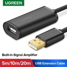 Ugreen przedłużacz USB 5m/10m/20m/30m męski na żeński kabel USB 3.0 wzmacniacz sygnału USB3.0 2.0 przedłużacz USB rozszerzenie