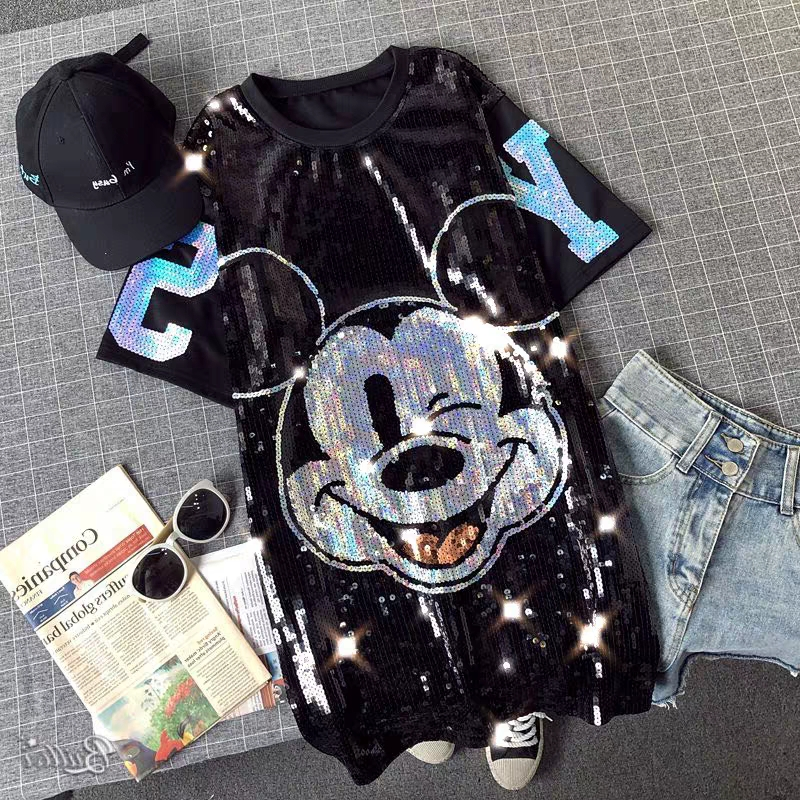 Mickey Mouse Women Plus Size Dresses Short Sleeve Casual Loose Fashion Streetwear Sequin Party Club Mini Summer Dress Mujer