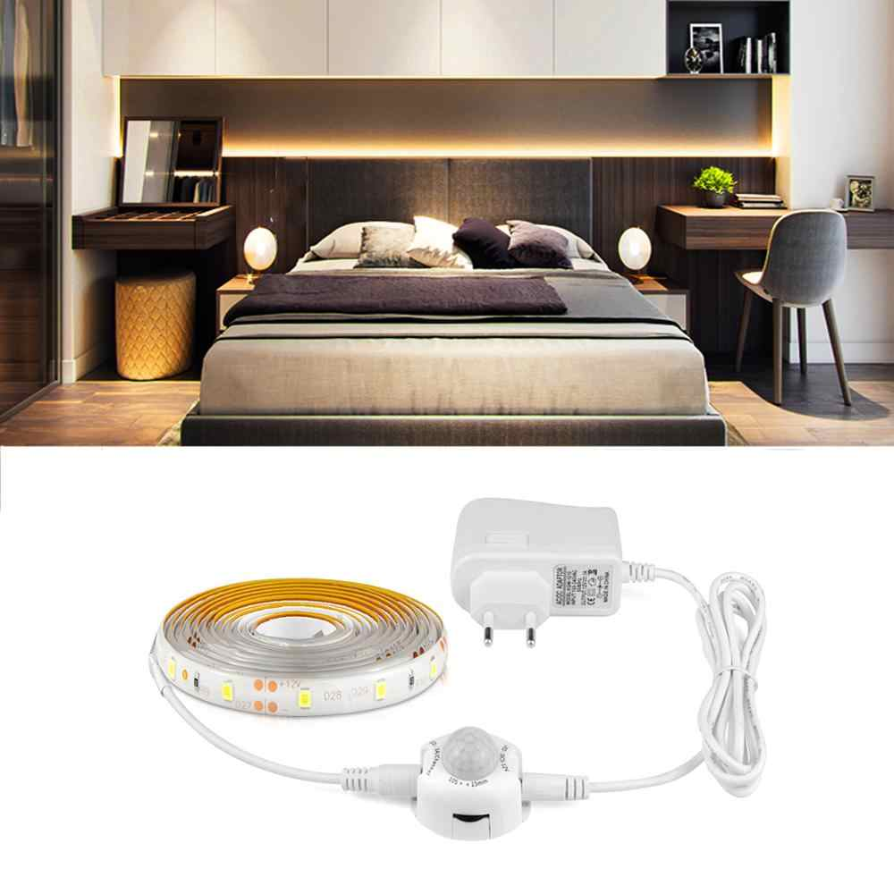 Wireless PIR MOTION SENSOR LED Strip Lampu 110 V/220 V LED Pita 1-5M DC12V Auto ON/Off Pita Dioda TV Backlight Lampu untuk Dapur