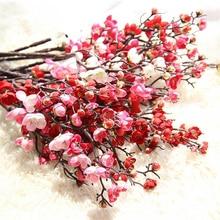 2Pcs Artificial Flowers Plum Wedding Decoration Flower Home Desk Vase Ornament INS Nordic DIY Fake Decor Shooting Prop