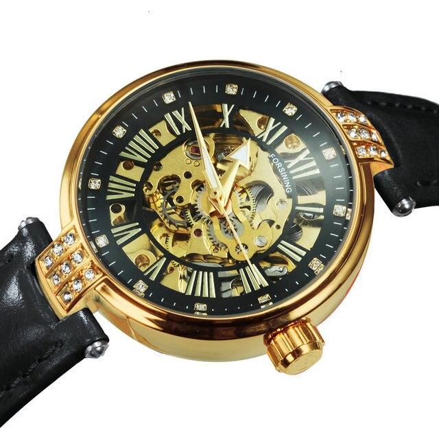 FORSINING New Fashion Vintage Mechanical Women Watches Top Brand Luxury Gold Skeleton Leather Strap Ladies Watch часы женские 5