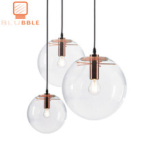 BLUBBLE Wonderland Modern Rose Gold Clear Glass Ball Pendant Handing Lamp Light Luster LED Glass Ball Bar Kitchen High Quality(China)