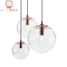 BLUBBLE Wonderland Rosa moderna colgante de bola de cristal transparente dorado lámpara de mano lustre LED bola de vidrio Bar cocina de alta calidad