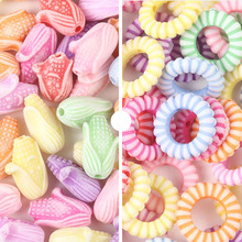 50 Pcs/Bag Plastic Candy Color Round Mixed Garland Washed Beads Used As Raw Material for Diy Handmade Jewelry Accessories