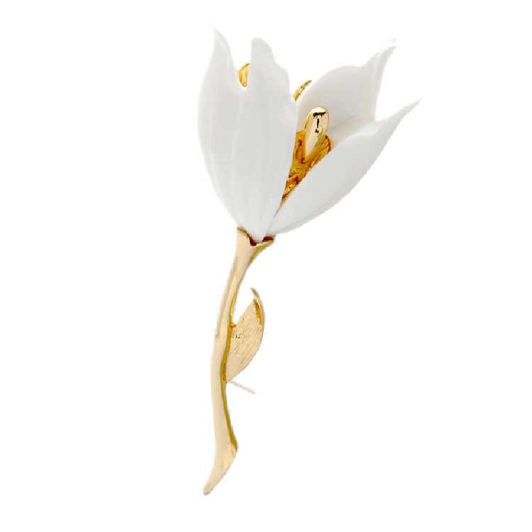 Lnrrabc 女性チューリップの花のブローチアクリル合金ブレスト襟ピントレンディジュエリー女性バッグピンバッジ broches デストラス luxo
