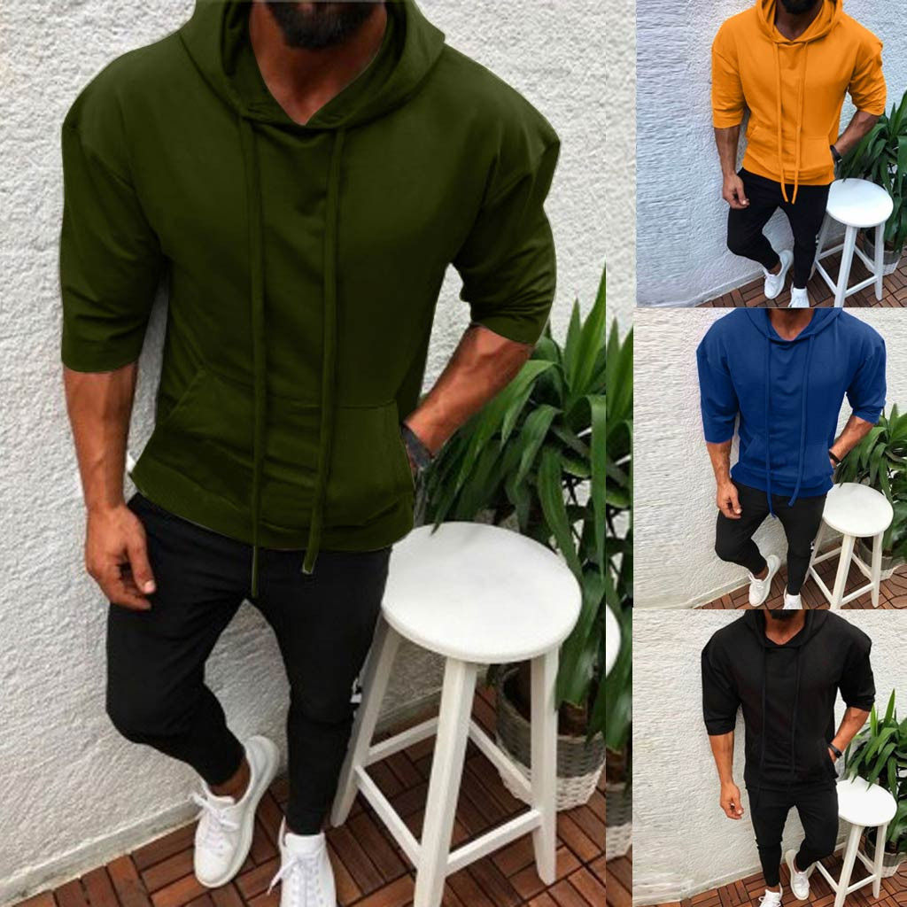 Sweatshirt Men Splicing Button Pullover Seven point Sleeve Hooded Casual Loose Sweatshirts Tops Blouse Hoodies for Male hot sale