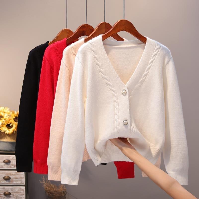 Женский трикотажный кардиган, повседневный облегающий свитер с V-образным вырезом, весна-осень 2020