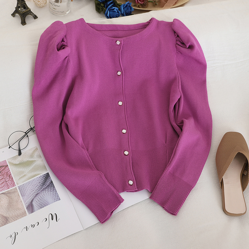 ZCWXM Puff Sleeve Cardigans Solid 2020 Spring Girl Single Breasted Korean Vintage Sweaters Women Thin Chaqueta Mujer