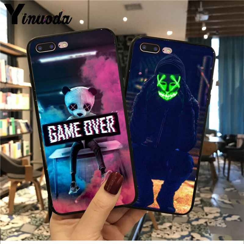 Yinuoda Game Over Panda Smart Cover Hitam Lembut Ponsel Case untuk iPhone 6S 6 Plus 7 7 Plus 8 8Plus X XS Max 5 5S XR 11 11pro Max