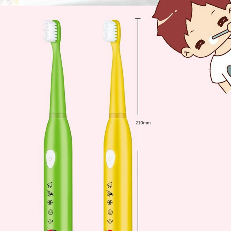 5 Modes Children Electric Usb Charger Cartoon Pattern Kids Waterproof ToothBrush With 4 Replacement Heads