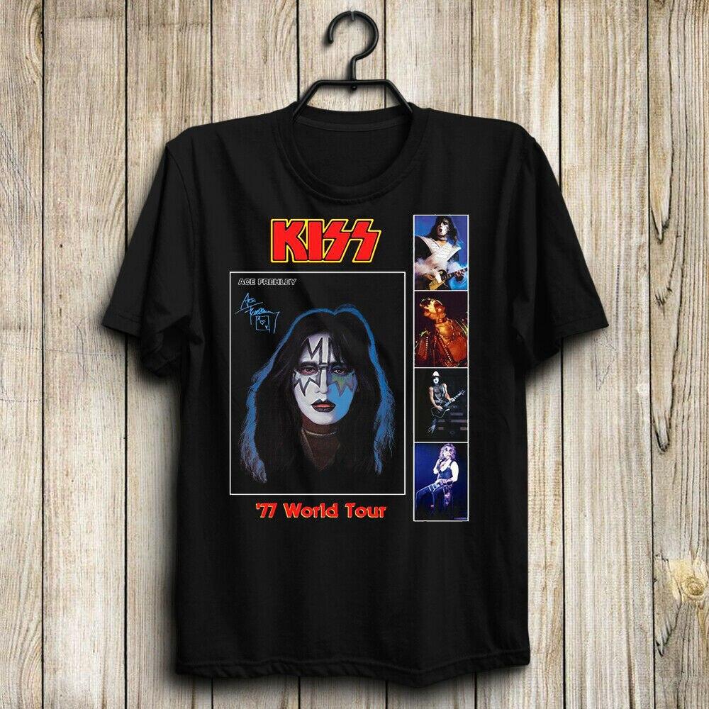 Kiss Band-Ace Frehley 77 World Tour Paul Stanley camiseta de ASIA para hombre regalo superior 100% algodón corto camiseta TOP manga verano Princesa coreana borlas cabeza opaca cortina paño cortina + Voile cortinas velos de tul para salón dormitorio cortina 77 #25