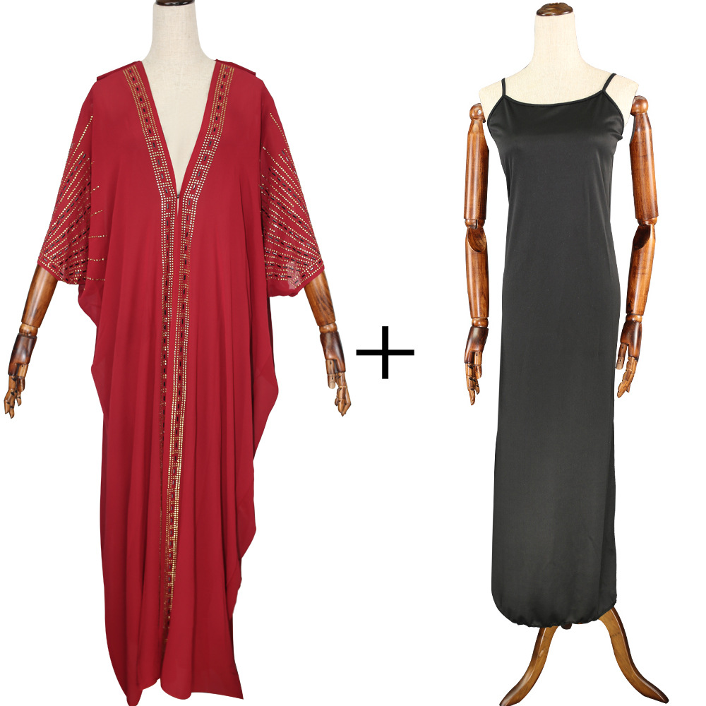 Длина 140 см, красная африканская одежда, африканские платья для женщин, мусульманское длинное платье, высокое качество, длина, модное Африканское платье для леди - Цвет: Red 2pcs set