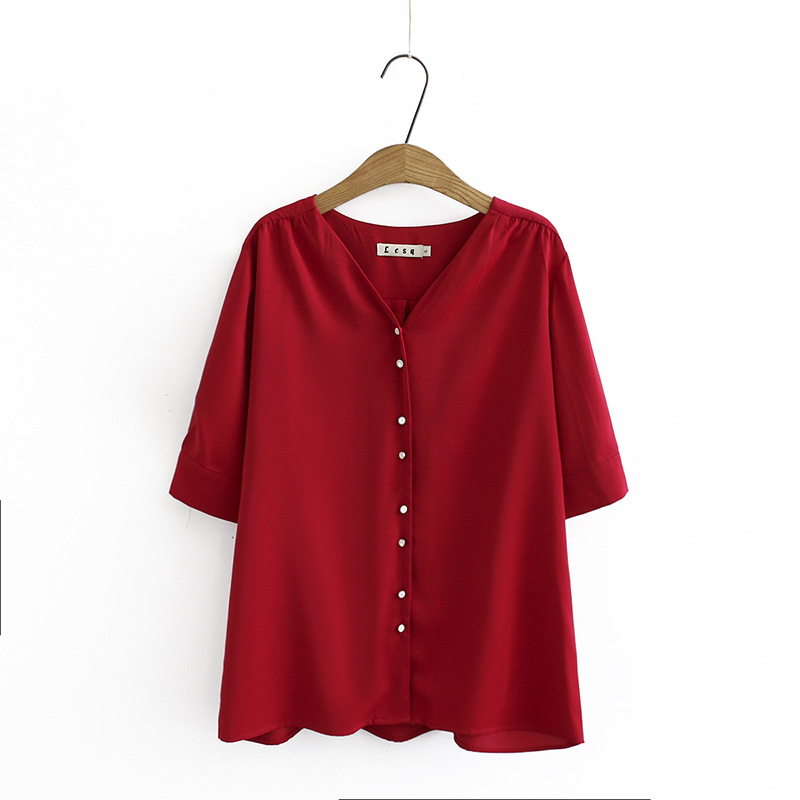 Short Sleeve Shirt Women Blouse Plus Size XXXL 4XL Casual V-neck Summer Blouse Black Red KKFY4433 Women Women's Blouses Women's Clothings cb5feb1b7314637725a2e7: black|Red
