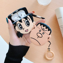 Bluetooth Earphone Case for Airpods Cute Accessories Protective Cover with Ring Strap Keychain Cartoon Silicone Minamoto Shizuka cute cartoon character note pad with keychain and strap color assorted