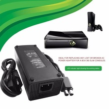 Адаптер переменного тока 100-240 В, зарядное устройство с европейской вилкой, кабель для Xbox 360 Slim, Идеальная Замена зарядного устройства, светодиодный светильник-индикатор