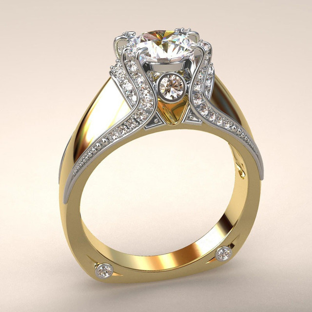 Crystal Zircon Ring Luxury Fashion Gold Color 925 Silver Promise Engagement 5