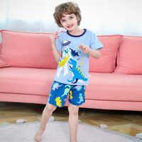 Conjunto de pijamas de dinossauro de saileroad crianças pijamas de criança dos desenhos animados animais de algodão impresso curto pijamas meninas pijamas criança noite wear