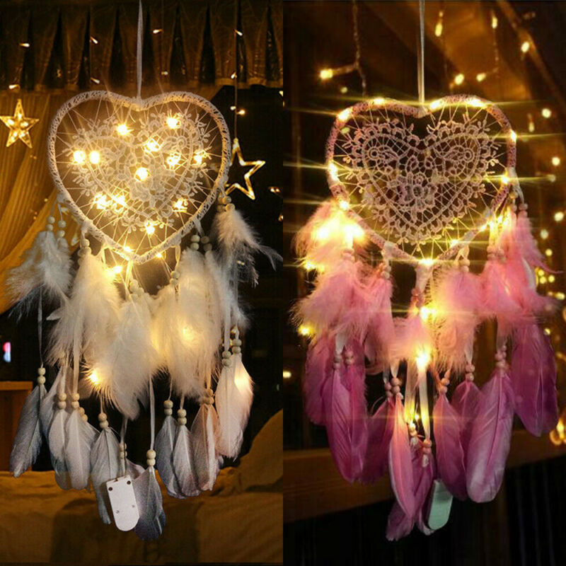Fancy Dream Catcher With LED String Hollow Hoop Heart Shape Pendant Feathers Handmade Night Light Wall Hanging Home Decor Gift