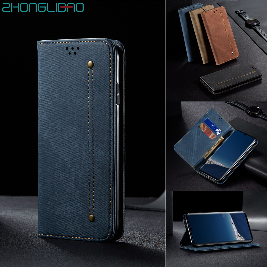 Magnetic Denim Leather Flip Case for Huawei P30 <font><b>Mate</b></font> 30 Pro <font><b>Lite</b></font> P Smart Z Y9 Prime 2019 Hono 10i <font><b>20</b></font> 8x Luxury Wallet Book Cover image